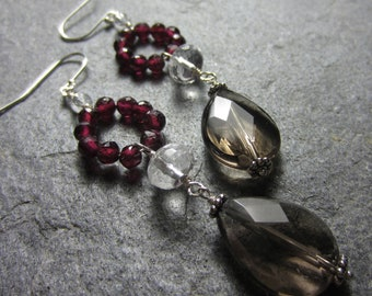Garnet, Smoky, and Crystal Quartz Drop Earrings