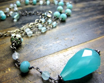 Blue Quartz Rosary-Style Necklace Handmade Sterling Silver Layering Boho