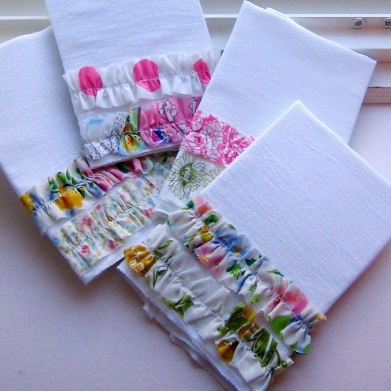 RESERVED for Sue -  Flour Sack  Dish Towels, Ruffle Tea Towels, Kitchen Towels - RESERVED LISTING