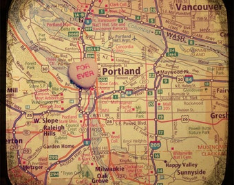 forever portland candy heart map art 5x5 ttv photo print - free shipping