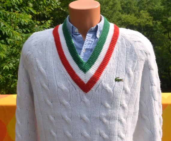 vintage 70s izod LACOSTE sweater v-neck tennis stripes white