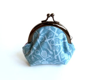 Kitchen Utensils Coin Purse -  Blue Kitchen Utensils Fabric iPhone Earbud Case with Red and Pink Polka Dot Lining