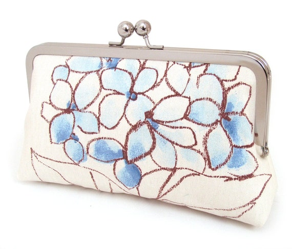 Blue hydrangea silk lined clutch purse bag