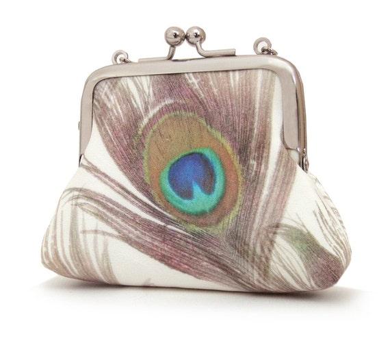 Petite peacock purse : Mini silk pouch / chain handle