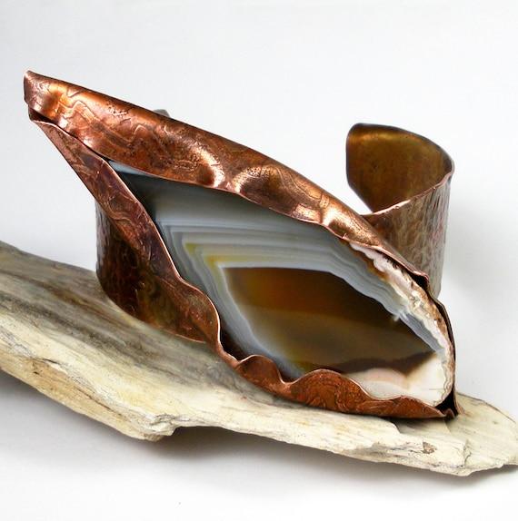 Hammered Copper Cuff Bracelet, Wild, Rustic and Bold Copper Cuff, Hammered and Etched, Large Agate Focal, Heat Patina-Wild Cat Eye