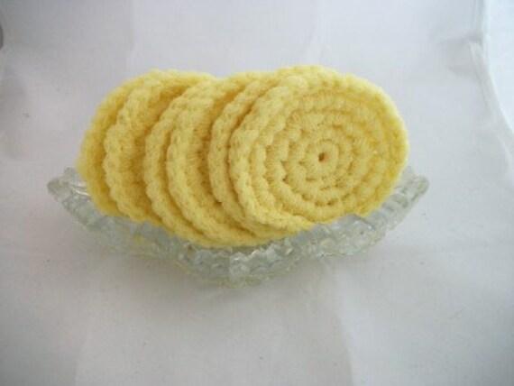 Set of Six Yellow Dish Scrubbies