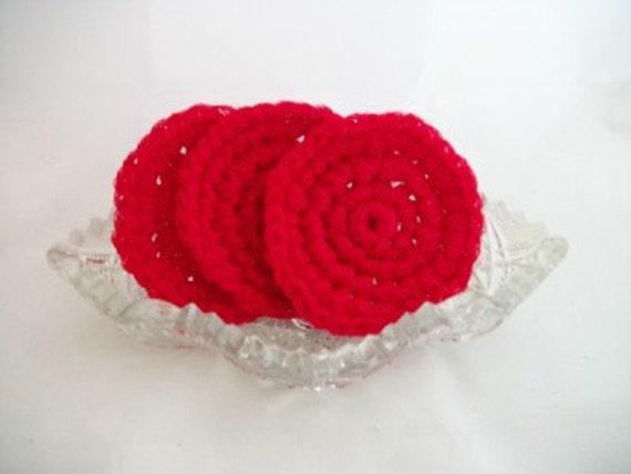 Three Round Scrubbies in Red