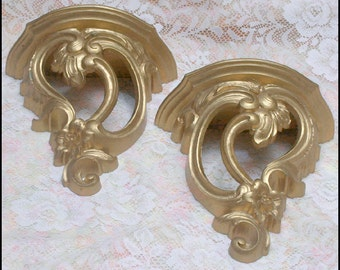 SALE - 1970 Hollywood Regency Set of Two Syroco Wall Hangers for Your Shabby Chic or Glamorous Decor