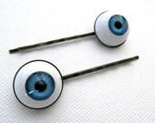 Blue Eyeball Hair Pins