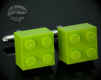 Lime Green Cufflinks - made with LEGO bricks