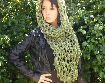 The Fringe Cowl neck Chunky boho vegan scarf Sage green