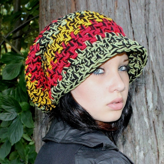SALE RASTA Love slouch cloche vegan hat Red Green Yellow Black