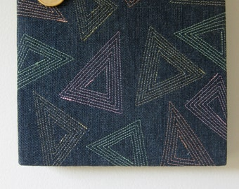 Triangles On Denim Textile Wall Art by Tiny Marie OOAK