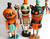 Halloween Jack O Lantern Man with Pumpkin Wand clay folk art