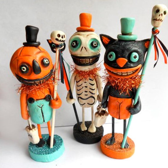 Halloween Jack O Lantern Man with Pumpkin Wand clay folk art