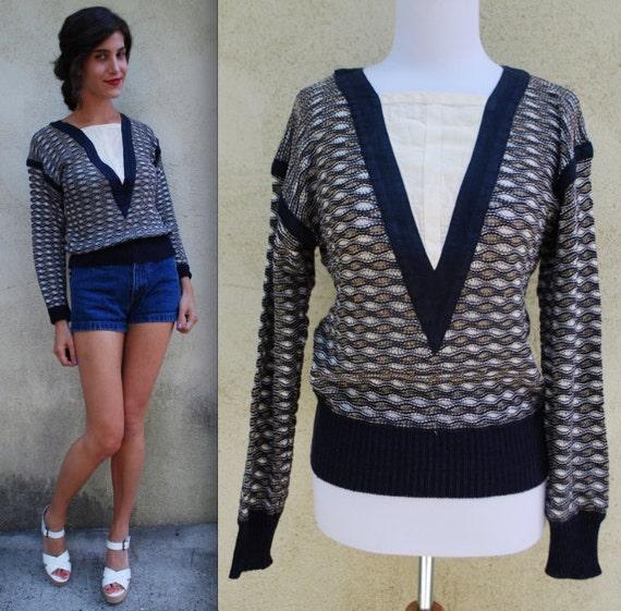 Vintage 60s 70s Wavy Navy Sailor Paneled Textured Knit Pullover Sweater (size small, medium)