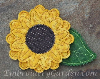 In the Hoop Sunflower Felt Pin Machine Embroidery Design File Instant Download