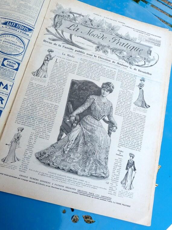Antique 1900 French Issue victorian magazine fashion paper ephemera advertisment