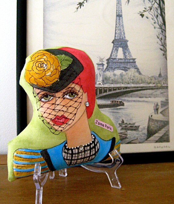 RESERVED For Danak85 PARISIAN Girl MANON  Shaped Hand Painted Pillow with stand and quote (J'aime Paris.)