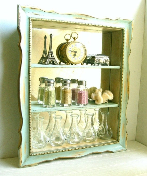 Aqua Mirrored Curio Shelf ......... Chalk Painted Wall Cabinet