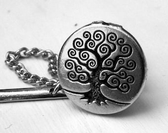 Silver World Tree tie tack