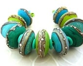 Minty Fresh Discs ..  etched handmade glass lampwork beads by Julie Fountain UK SRA