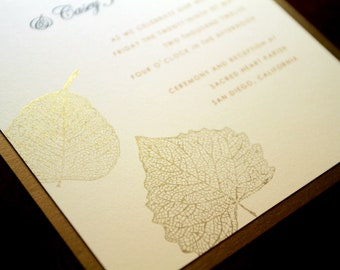 Gold Falling Leaves Hand Stamped Wedding Invitation Set, Autumn Invites, Elegant Nature, Woodland Wedding, Harvest Moon, Gold Leaf, Weddings
