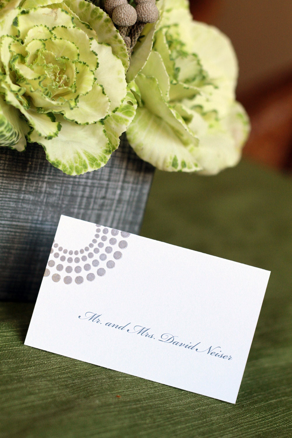 Shimmer Silver Modern Deco Place Cards Escort Cards Hand Stamped Cards Wed