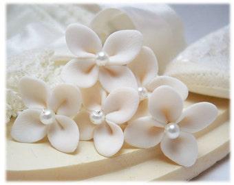 Small Hydrangea Pearl Hair Pins - Tiny Bridal Hair Flowers