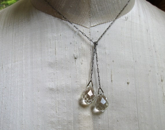Art Deco Sterling Lariat Necklace with Crystal Tear Drops Exquisite fine for Bride Wedding