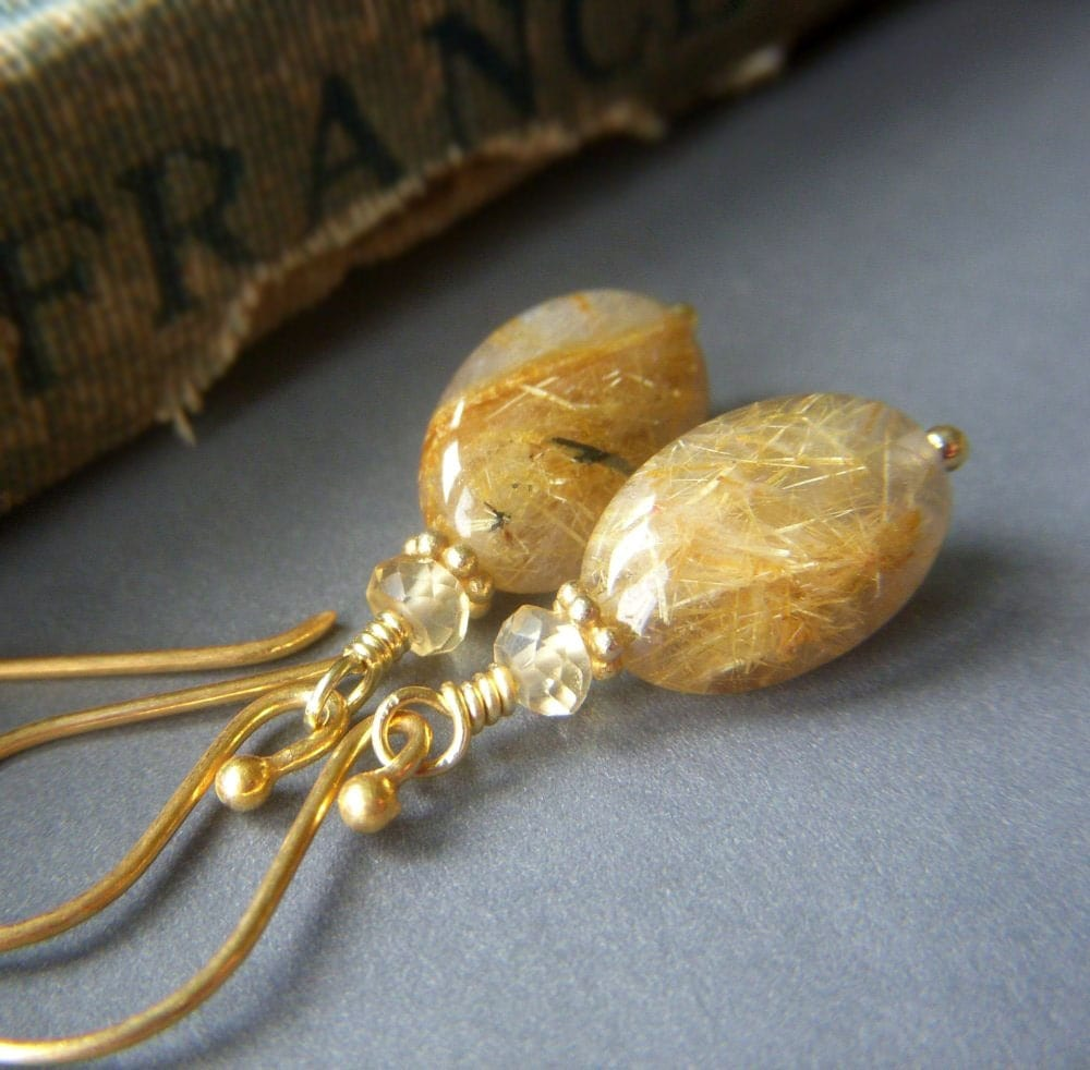 Rutilated quartz earrings on gold vermeil golden by for Golden rutilated quartz jewelry