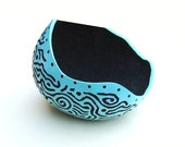Beach Decor Painted and Carved Gourd Bowl Art Turquoise