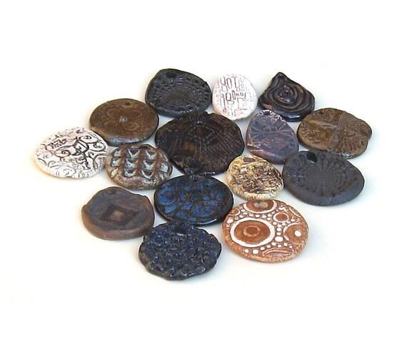 Rustic Pendants Sale-15 Rustic Ceramic Ancient Ethnic Tribal Mix