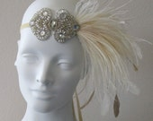 Deco Flapper Feather Headband Antique Gold And Ivory