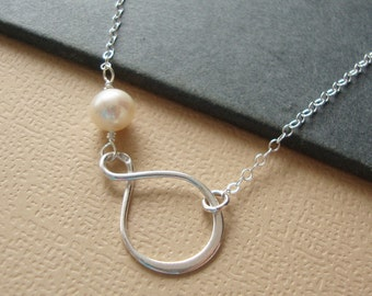 Infinity Necklace Pearl Necklace - Lovely Bridesmaids Gifts, Maid of Honor, Mother of the Bride, all STERLING SILVER, Pearl Necklace