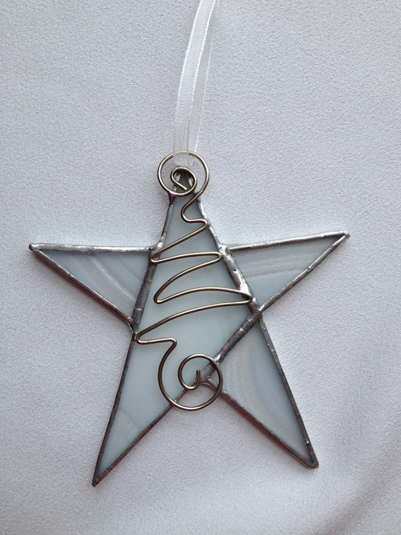 Stained glass ornament white star with wire