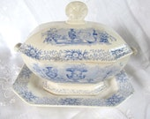 Antique 1840's Early Victorian,Pre Civil War, Blue And White Transferware Sauce Tureen With Underplate Staffordshire