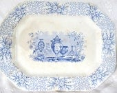 SALE Antique 1840's Transferware Platter Blue And White Staffordshire, Antique Vases, Joseph Clementson Was 149.99 Now 124.99