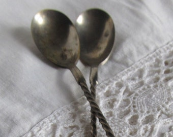 SALE JUST REDUCED Colonial Era To Civil War Era Twisted Handle Coin Silver Spoons Was 79.99 Now 59.99