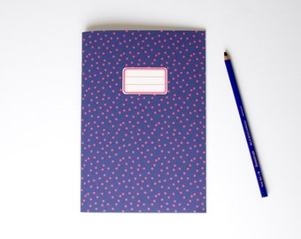Polka Dots Notebook - cute journal to use as diary, bullet journal, sketchbook, recipes book,... - Blue and red with retro label