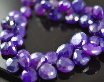 1/2 strand purple chalcedony hearts with mystic coating