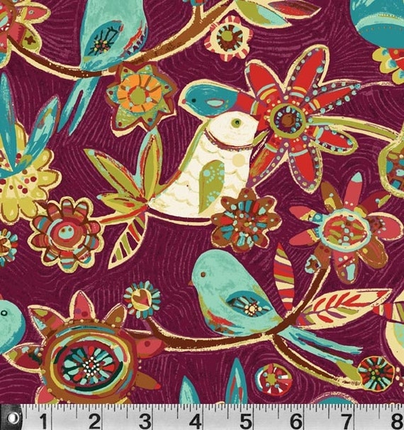 Bird Vine Fabric TURQUOISE SOLD OUT but still have plum