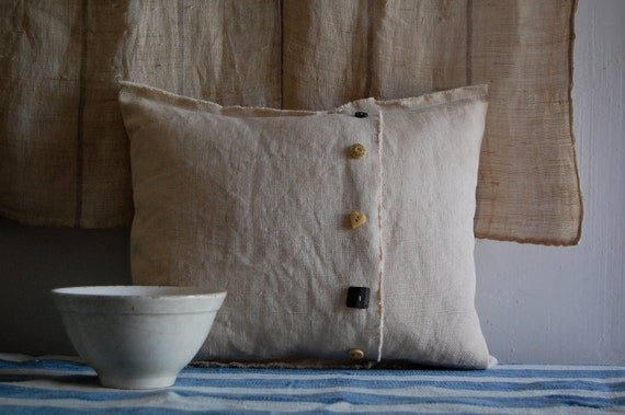 tea stain cushion with vintage buttons envelope cover with insert