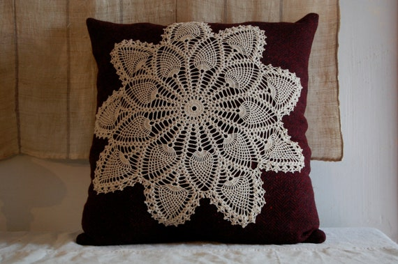 SALE pillow vintage wool vintage lace