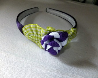Adorable Purple Headband with Purple and White Rose
