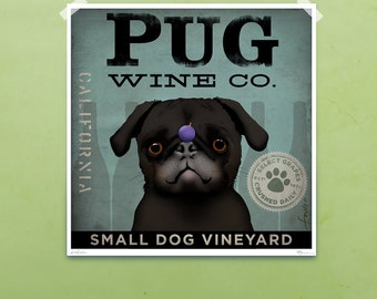 PUG Wine Company original illustration graphic art giclee signed artists print by Stephen Fowler