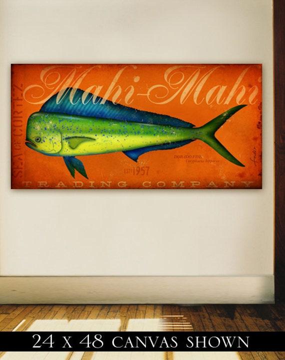 Mahi Mahi trading company Dorado fish illustraton original design on gallery wrapped by stephen fowler