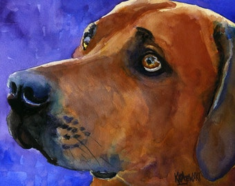 Rhodesian Ridgeback Art Print of Original Watercolor Painting - 8x10