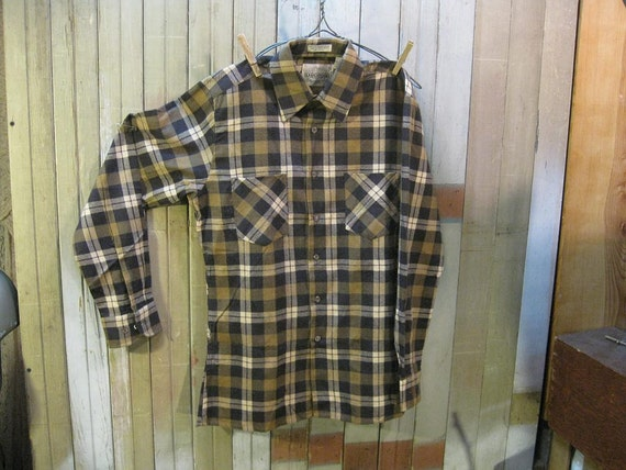 Vintage Plaid Flannel shirt Camel Black tan tartan cotton mens Clothing S M