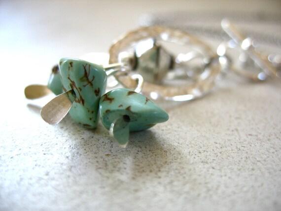 Turquoise, Turquoise Necklace,Turquoise Stone Metalwork Necklace, Metalwork Handmade Stone Jewelry, FREE Shipping